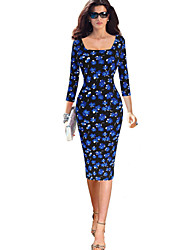 Womens Summer Style Slim Fit 3/4 Sleeve Party Office Work Pencil Bodycon Dress