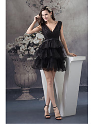 Cocktail Party Dress-Black A-line V-neck Short/Mini Organza