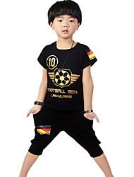 Boy's Cotton Summer Football Suit Short Sleeve Two-piece Suit