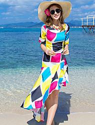 Mulheres Vestido Chifon Vintage / Boho Geométrica Médio Decote Redondo Acrílico