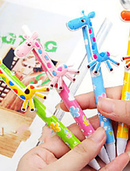1PC Cartoon Fun Giraffe Automatic Ball Pen Lovely Pen Pen Student Supplies(Style random)