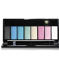 8 Paleta de Sombras Secos Paleta da sombra Pó Normal Maquiagem para o Dia A Dia
