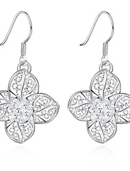 lureme®Fashion Style Silver Plated Flowers Shaped Dangle Earrings