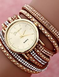 Mulheres Relógio de Moda Bracele Relógio Quartzo Tecido Banda Dourada # 7 # 8 # 9 # 10 # 11
