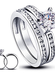 Luxurious Wedding Classic 6.5mm Round Cubic Zirconia Ring Sets 925 Sterling Silver Rings For Women