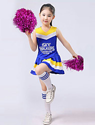 Shall We Cheerleader Costumes Children Performance Polyester Pleated 2 Pieces Outfits