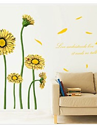 The New Warm Living Room Bedroom Backdrop Sunflower Flowers Wall Stickers Wallpaper Waterproof Removable