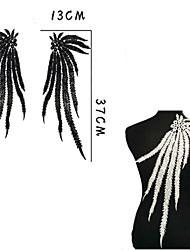 1x longo pavão off white pena senhora vestido motivo venise guarnição do laço muito decoração
