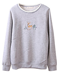 Women's Casual/Daily Cute Hoodies Print Blue / Pink / Gray Cotton