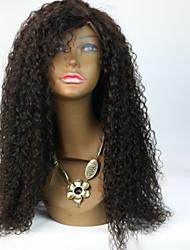 """en stock 8 """"-24"""" cheveux brésiliens vierges couleur naturelle jerry bouclés dentelle devant perruque / pleine perruque de dentelle pour"""