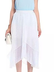 Women's Solid White / Black Skirts,Simple Midi