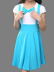 Girl's Blue / Red Dress,Bow Cotton Summer