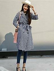 Women's Plaid Black Trench Coat,Street chic Long Sleeve Cotton