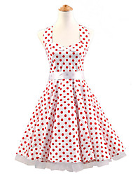 50s Era Vintage Style Halterneck Rockabilly Dress Cosplay Costume White Red Polka Dot (with Petticoat)