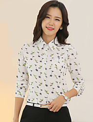 Women's High Quality Birds Print OL Long Sleeve Chiffon Shirt