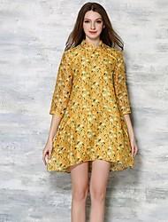De las mujeres Corte Ancho Vestido Vintage Estampado Sobre la rodilla Escote Chino Algodón / Poliéster