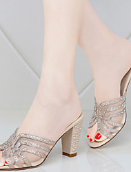 Women's Shoes Glitter Chunky Heel Slippers Sandals / Slippers Office & Career / Dress / Casual Silver / Gold