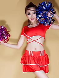 Tenue(Bleu / Rouge,Polyester,Costumes de Pom-Pom Girl)Costumes de Pom-Pom Girl- pourFemme Motif/Impression SpectacleCostumes de Pom-Pom