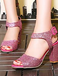 Women's Shoes Heel Heels / Peep Toe Sandals / Heels Party & Evening / Dress / Casual Purple / Red / Silver / Gold