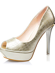 Women's Shoes Leatherette Stiletto Heel Heels Sandals Casual Black / White / Silver / Gold