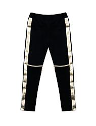 Pantalones Chica de-Todas las Temporadas-Algodón-Negro