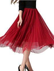 Women's Slim Pleated Elastic Waist Work Casual Holiday Chiffon Long Skirt Beach Boho 360 Big Swing Skirts