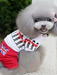 Perros Camiseta Blanco Verano / Primavera/Otoño Clásico / Britsh Moda, Dog Clothes / Dog Clothing-Lovoyager