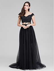 Formal Evening Dress A-line Sweetheart Sweep/Brush Train Tulle