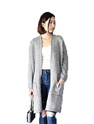 Women's Solid Gray Cardigan,Street chic Long Sleeve