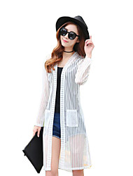 Women's Casual/Daily Plus Size / Street chic Summer Shirt,Solid Cowl Long Sleeve White / Black Polyester Translucent