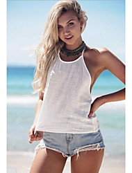 Women's Solid White Vest,Round Neck Sleeveless