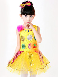 Performance Dresses Children's Fashion Sweet Cotton / Spandex Flower(s) Dance Costumes