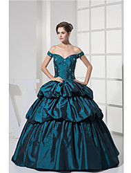 Formal Evening Dress A-line Off-the-shoulder Floor-length Taffeta with Appliques / Beading / Draping