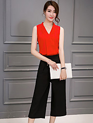 Women's Casual/Daily Simple / Street chic Summer Set,Solid V Neck Sleeveless Pink / Red / Black / Yellow Silk / Polyester Thin