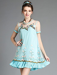 AOFULI Summer 2016 Women Vintage Elegant High Handmade Embroidery Patchwork Gauze Pleat Falbala Plus Size Dress