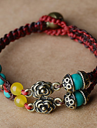 Vintage Ethnic Stone Agate Alloy Rose Cord Bracelet 1pc