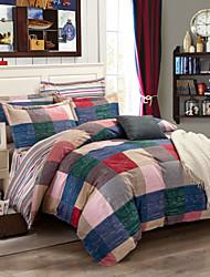 100% Cotton Bedclothes plaid  4pcs Bedding Set Queen Size Duvet Cover Set good qulity