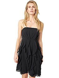 Women's Casual/Daily / Plus Size Street chic Chiffon Dress,Solid Strapless Above Knee Sleeveless Pink / Black Polyester Summer
