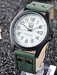 Masculino Relógio de Pulso Quartzo Couro Banda Preta Marrom Verde Chocolate Preto Marron Verde