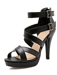 Women's Shoes Stiletto Heel Platform Sandals Party & Evening / Dress / Casual Black / White