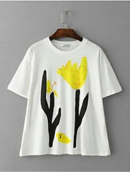 Vrouwen Eenvoudig / Street chic Zomer T-shirt,Casual/Dagelijks Bloemen Ronde hals Korte mouw Wit Overige Dun