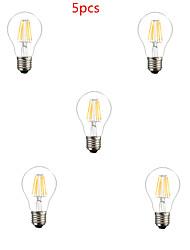 5 pezzi HRY E26/E27 6W 6 LED ad alta intesità 600LM lm Bianco caldo / Luce fredda A60(A19) edison Vintage Lampadine LED a incandescenzaAC