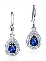 925 Sterling Silver and Copper Women Jewelry Fashion High Quality Rhodium Plated Drop Earrings with Cubic Zirconia