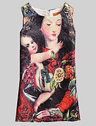 Girl's Black Dress,Print Polyester Summer / Spring