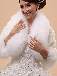 Wedding  Wraps / Fur Wraps / Hoods & Ponchos Capelets 3/4-Length Sleeve Faux Fur White Wedding / Party/Evening Rolled collarButton /