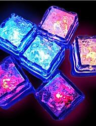 12pcs azul / vermelho / verde / amarelo rosa / RGB / mudança branca / natural, levou líquido sensores de luz cubos de gelo forma