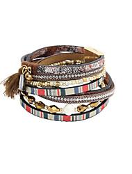 Dame Wrap Armbånd Læder Armbånd luksus smykker Perle Læder Rhinsten Fjer Imitation Diamond Legering Dråbe Blå Kakifarvet Smykker For