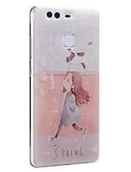 fleurs de chat printemps fille couverture arrière souple de protection ultra-mince affaire huawei pour Huawei Ascend p9