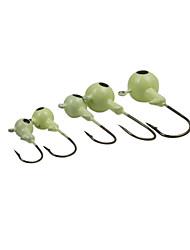 10PCS/Luminous  Jig Hook Fishing Metal Lead Head Hook 10g