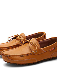 Men's Spring / Summer / Fall Round Toe / Closed Toe Leather Office & Career / Casual Flat Heel Bowknot / Slip-on Black / Blue / Yellow